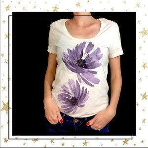 J.Crew Women's cream floral short sleeve tee (C2)